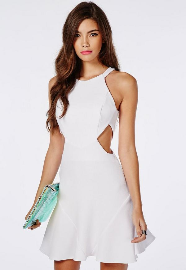 Stretch Crepe Cut Out Skater Dress White