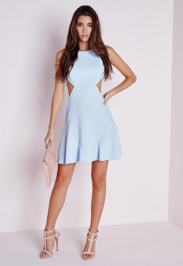 Stretch Crepe Cut Out Skater Dress Powder Blue
