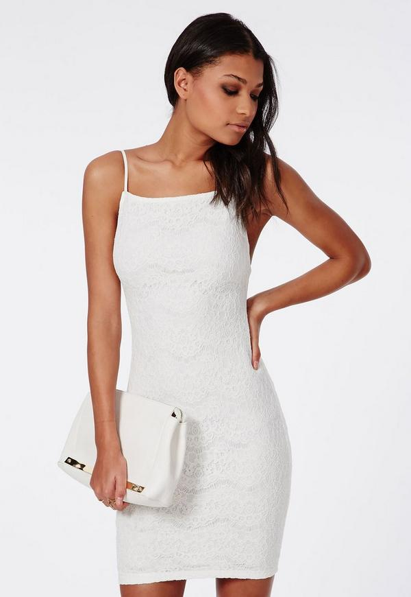 Lace Backless Mini Dress White