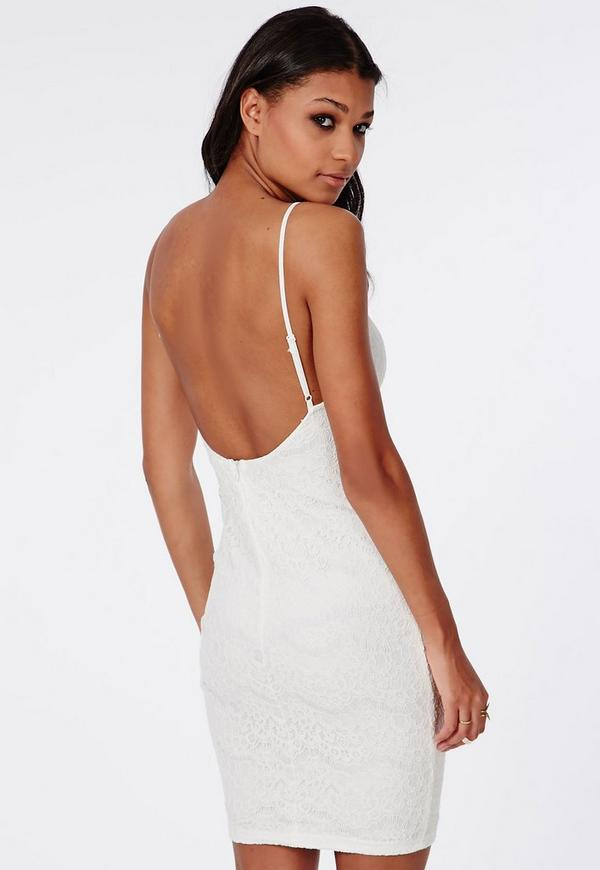 Lace Backless Mini Dress White | Missguided