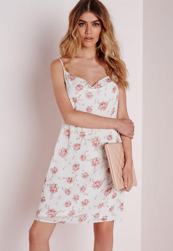 Cowl Front Strappy Cami Dress Ivory Vintage Floral