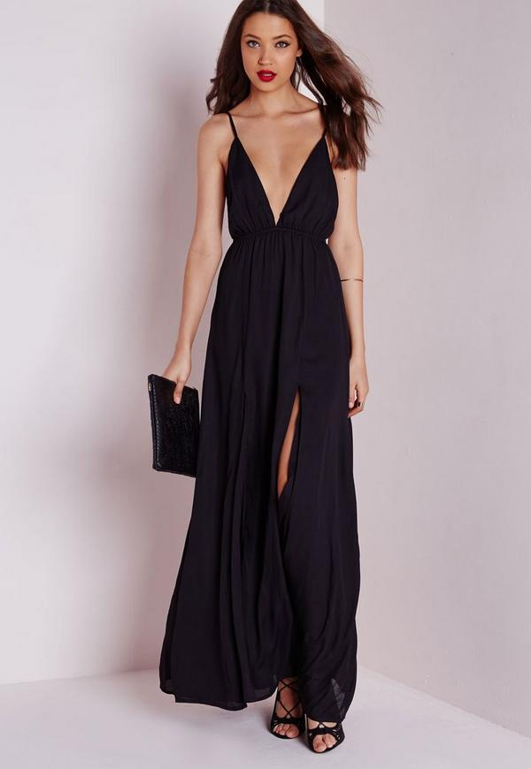 Chiffon Plunge Maxi Dress Black