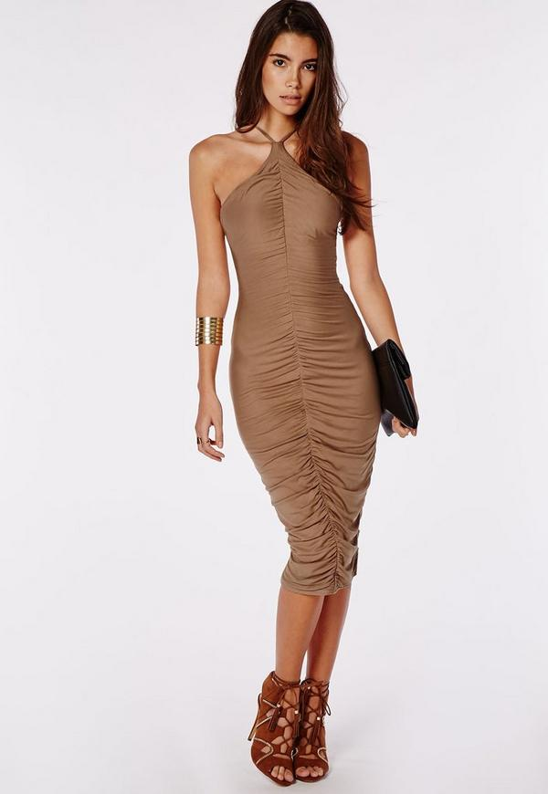 Jersey Ruched Midi Dress Camel
