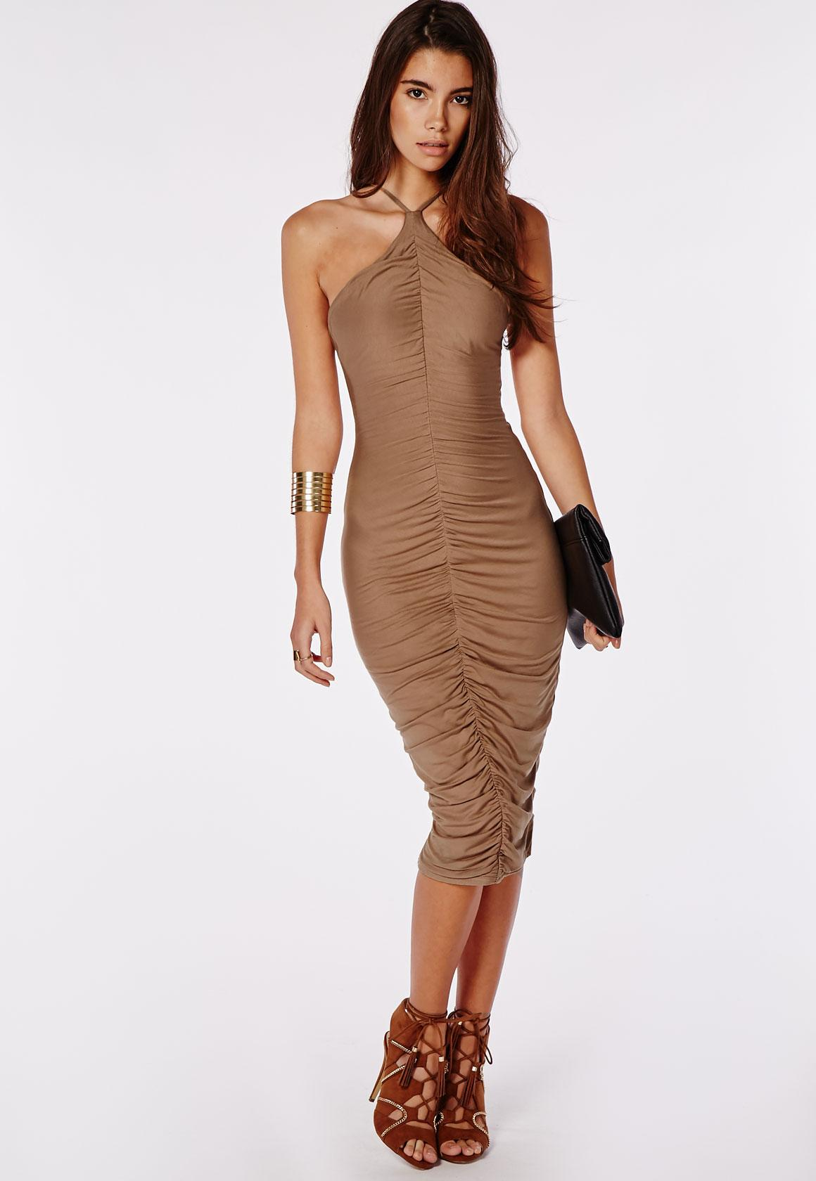 Wedding Ruched jersey ruched midi dress camel dresses missguided camel