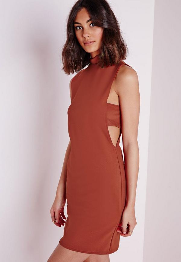 Scuba Bodycon Dress Rust