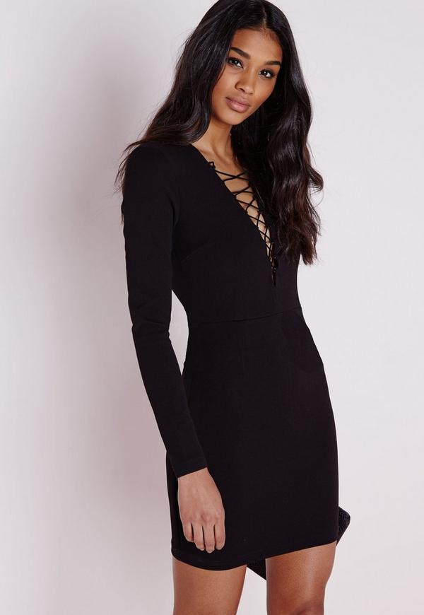 Crepe Lace Up Front Mini Dress Black