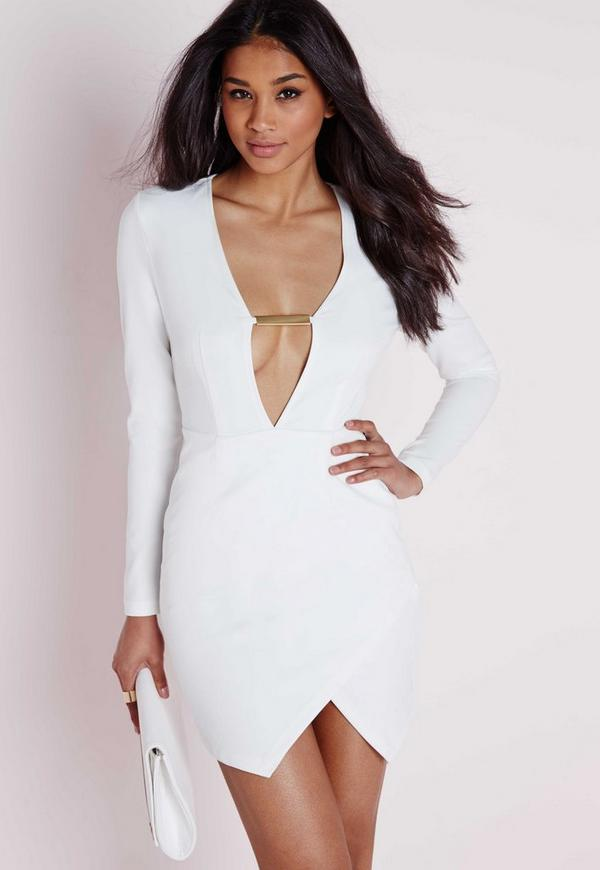 V Plunge Gold Chain Bust Detail Mini Dress White