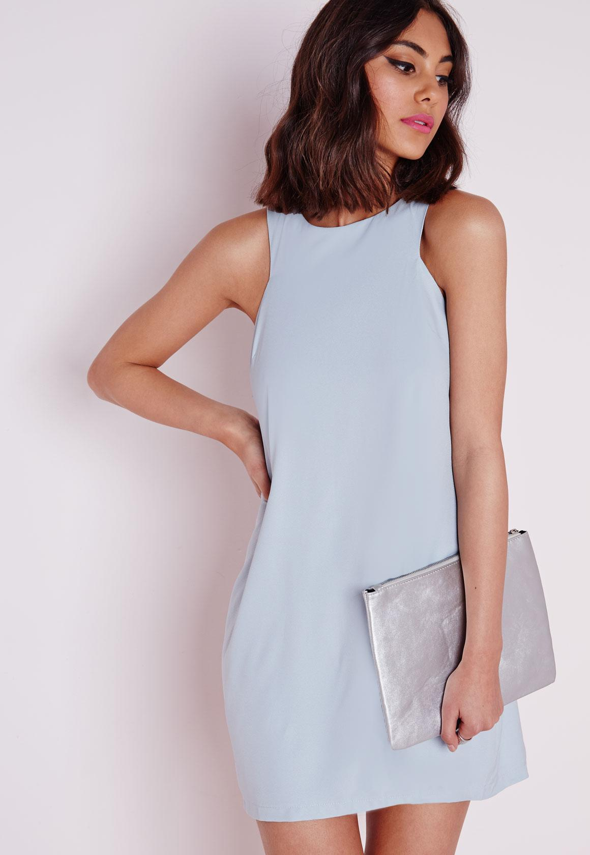 Crepe Sleeveless A-Line Shift Dress Powder Blue - Dresses - Shift ...