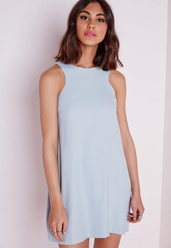 Crepe Sleeveless A-Line Shift Dress Powder Blue | Missguided