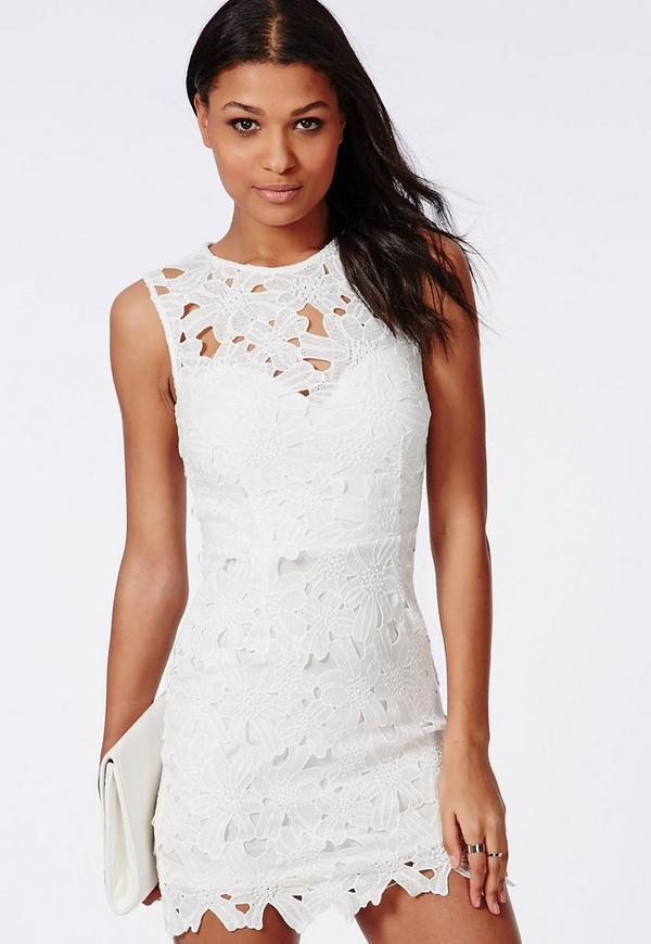 Crochet Bodycon Dress White