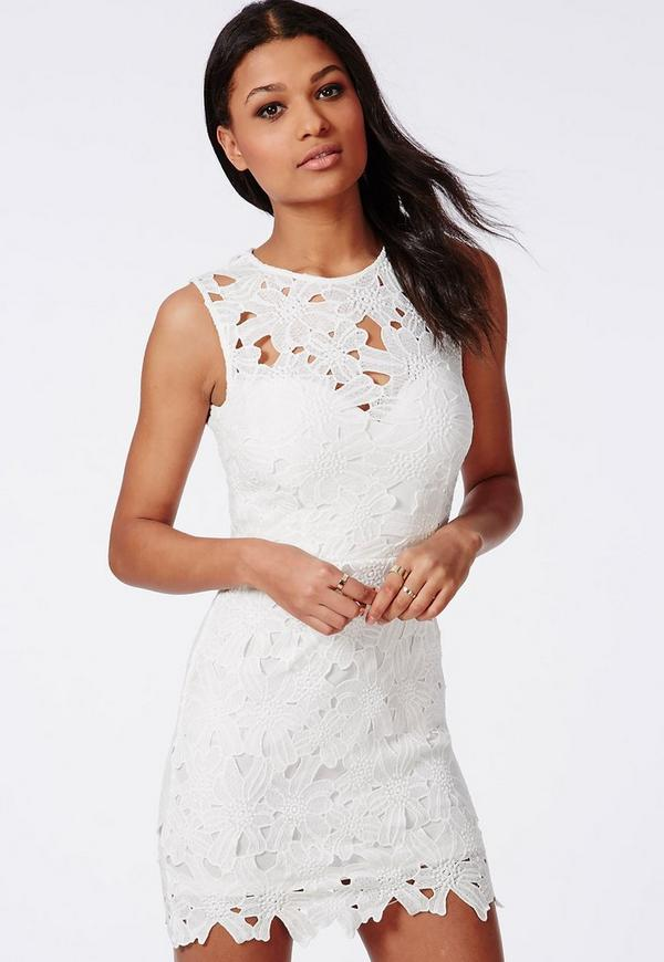 Crochet Bodycon Dress White | Missguided