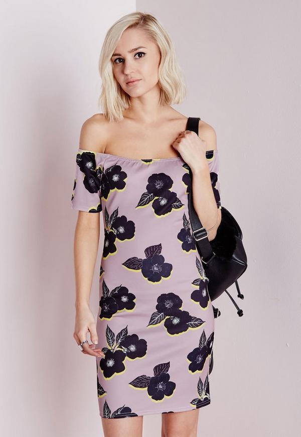 Scuba Bardot Bodycon Dress Pink/Black Floral