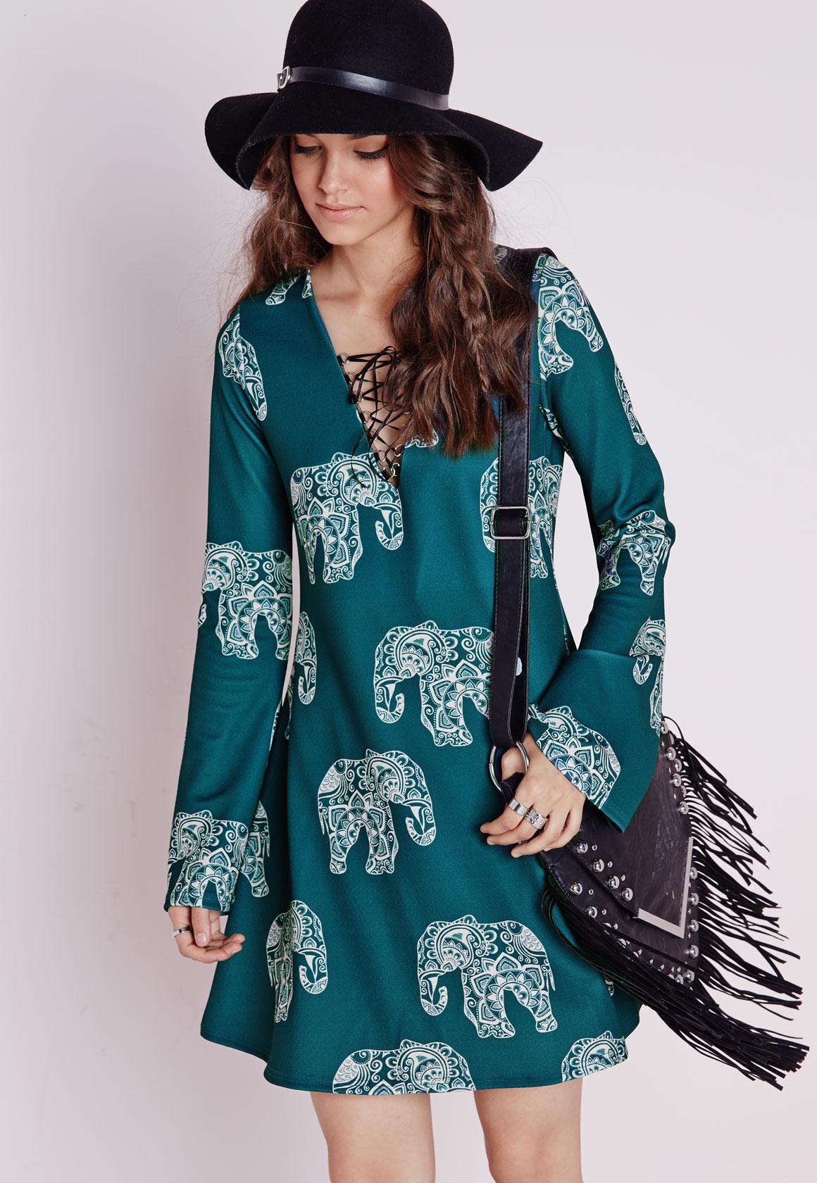 long sleeve crepe swing dress elephant print teal missguided