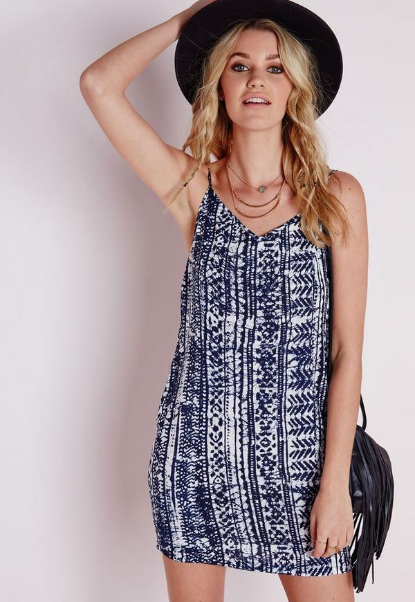 Strappy Lattice Back Cami Dress Blue Tie Dye