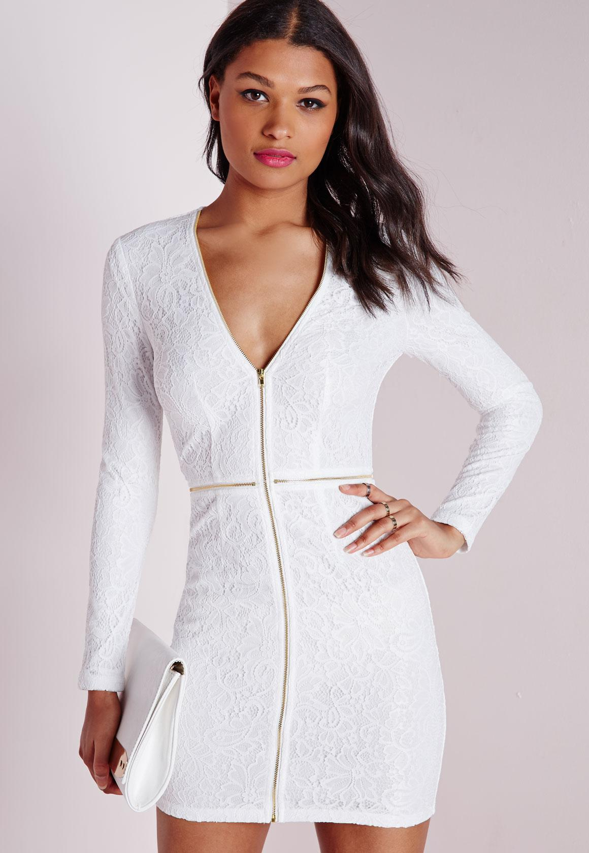 Lace Plunge Zip Long Sleeve Bodycon Dress White | Missguided