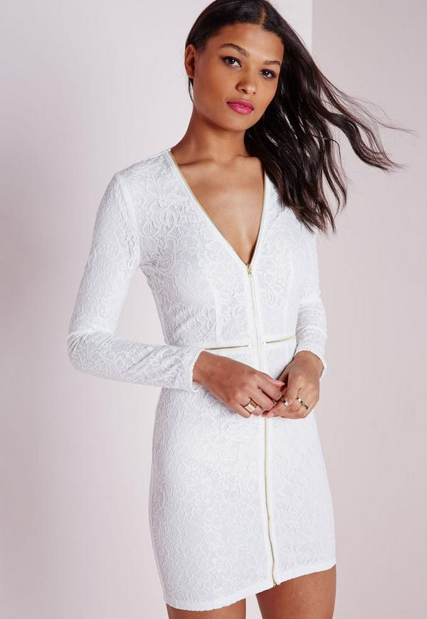 Lace Plunge Zip Long Sleeve Bodycon Dress White - Dresses ...