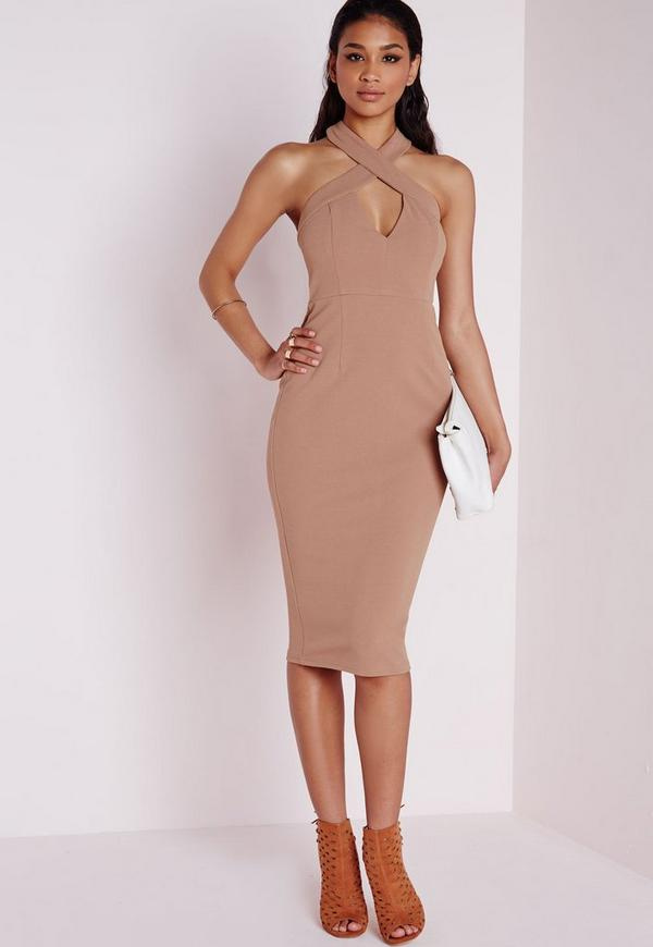 Crepe Cross Front Midi Dress Camel