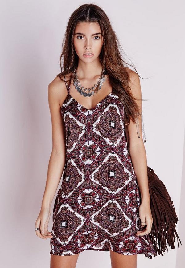 Silky Strappy Cami Dress Brown Paisley Print