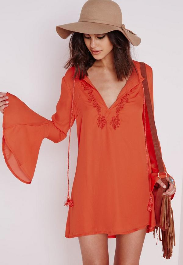 Bell Sleeve Embroidered Swing Dress Orange