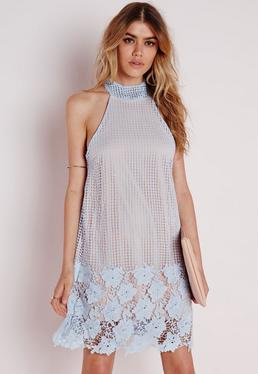 Lace Overlay A-Line Shift Dress Nude/Blue