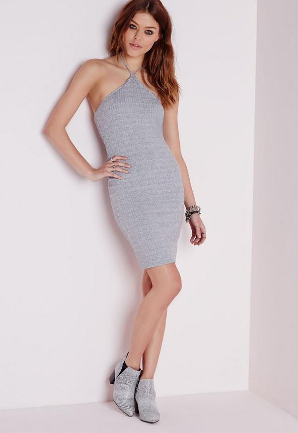 Halterneck Ribbed Bodycon Dress Grey