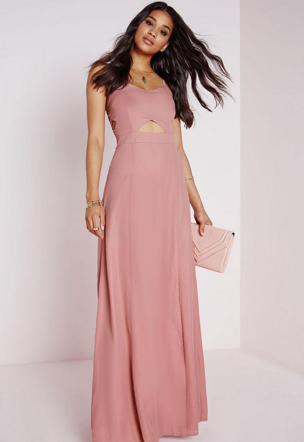 Crepe Bralet Maxi Dress Dusky Pink