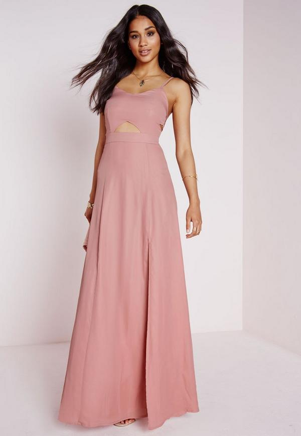 Crepe Bralet Maxi Dress Dusky Pink | Missguided