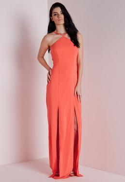 Crepe Halterneck Maxi Dress Coral