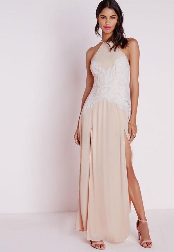 Halterneck White Eyelash Lace Maxi Dress Nude