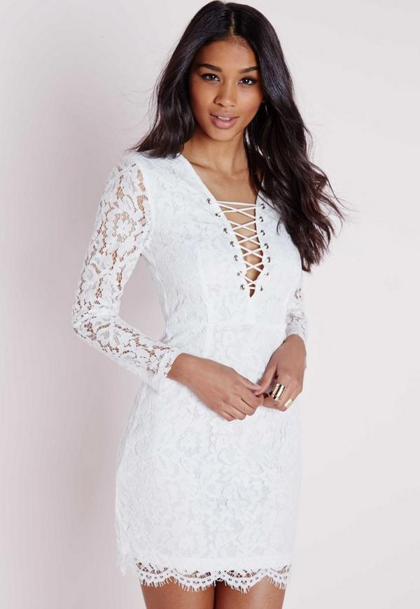 Lace Tie Up Front Mini Dress White