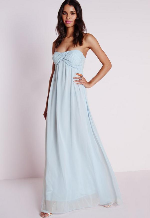 Gathered Chiffon Maxi Dress Powder Blue