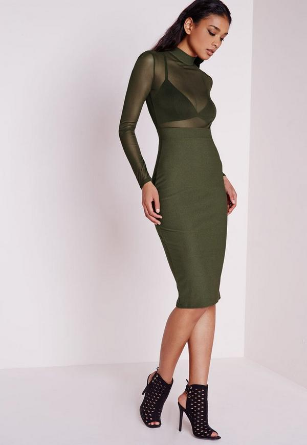 Long Sleeve Mesh Top Midi Dress Khaki