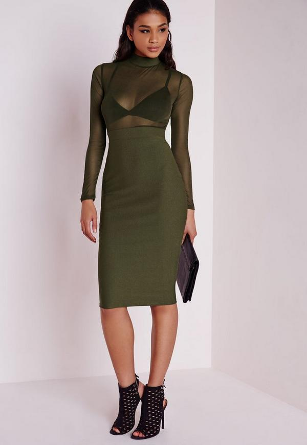 Long Sleeve Mesh Top Midi Dress Khaki Dresses Midi