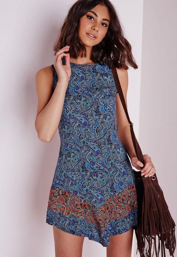 V-Hem Swing Dress Blue Paisley