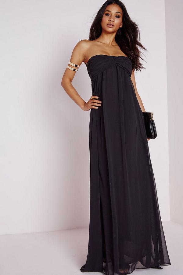 Gathered Chiffon Maxi Dress Black