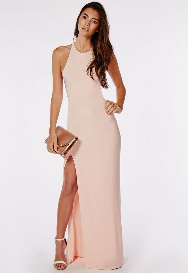 Slinky Side Split Maxi Dress Nude