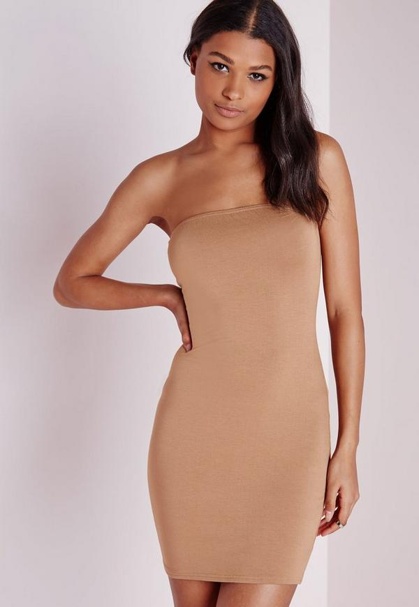 Jersey Bandeau Bodycon Dress Camel