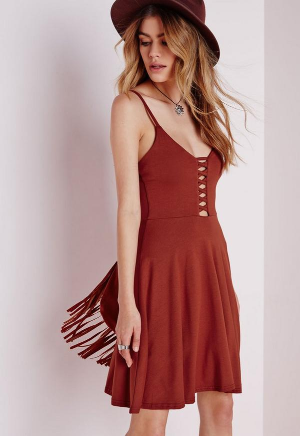 Jersey Lattice Skater Dress Rust