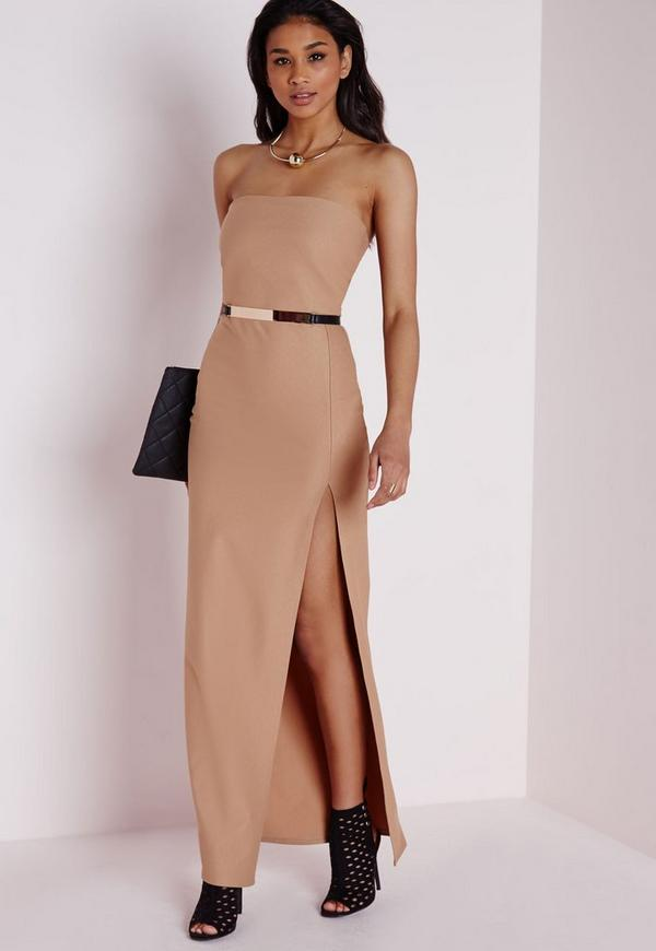 Crepe Front Split Bandeau Maxi Dress Camel
