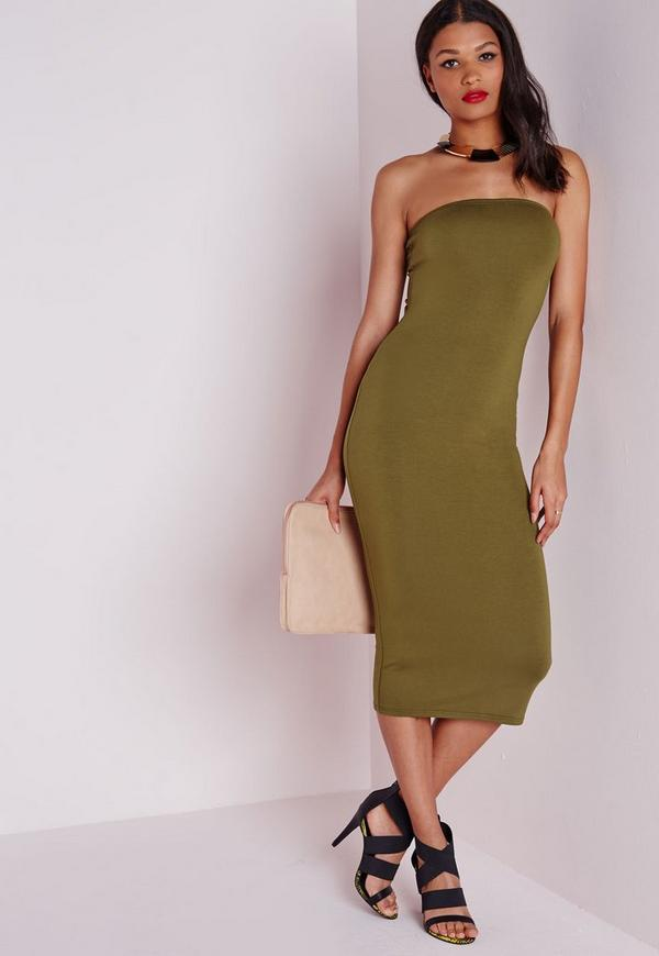 Jersey Bandeau Midi Dress Khaki