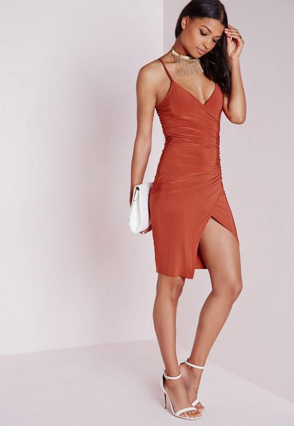 Slinky Strappy Asymmetric Bodycon Dress Rust