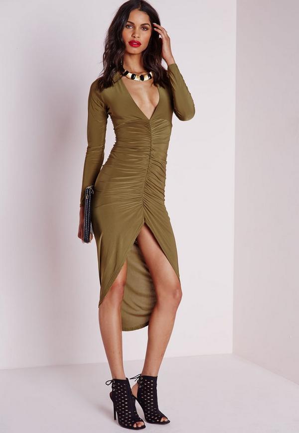 Slinky Plunge Ruched Midi Dress Khaki