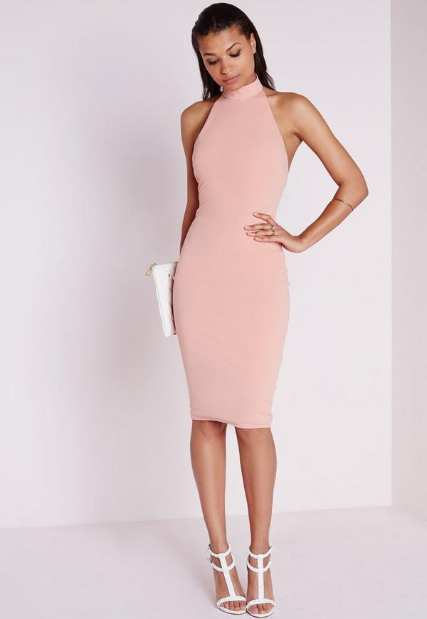 High Neck Bodycon Dress Dusky Pink
