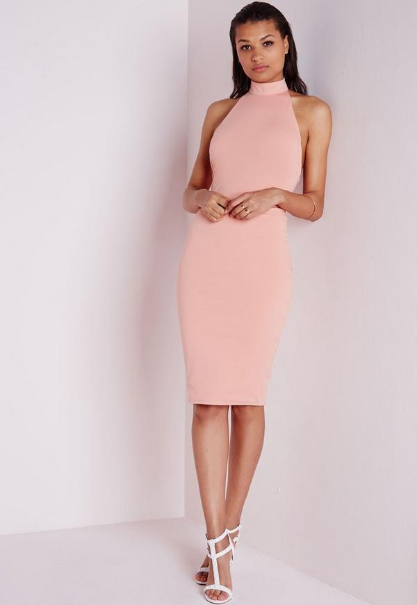 High Neck Bodycon Dress Dusky Pink Previous Next