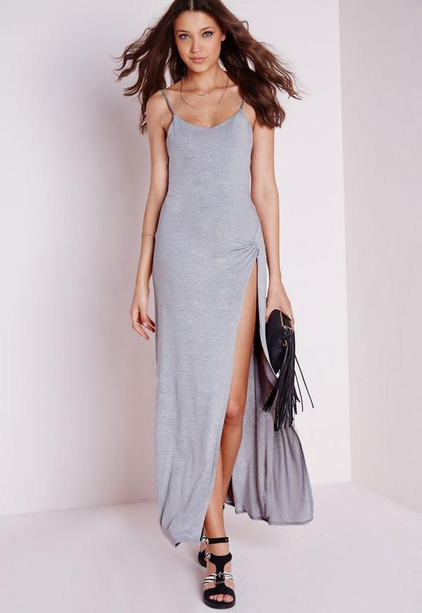 Jersey Knot Front Split Side Maxi Dress Grey Marl
