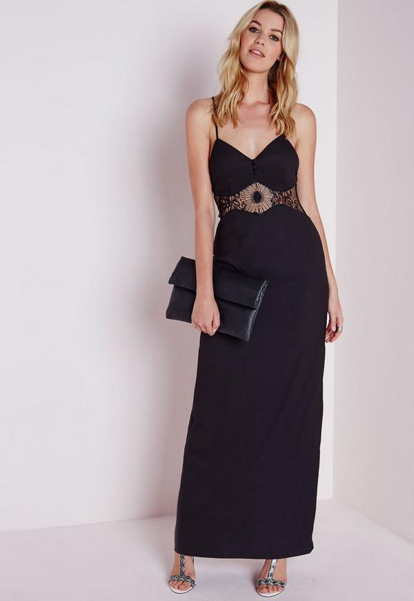 Crepe Strappy Lace Waist Detail Maxi Dress Black