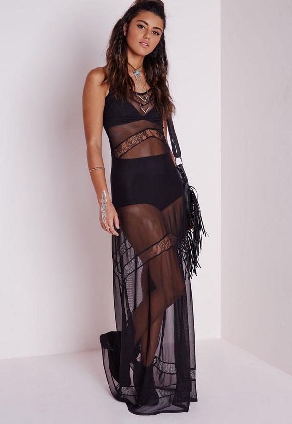 Lace Insert Mesh Maxi Dress Black