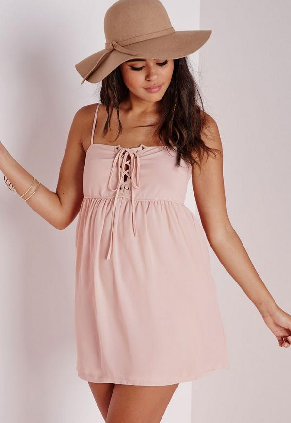 Crepe Lace Up Strappy Swing Dress Nude