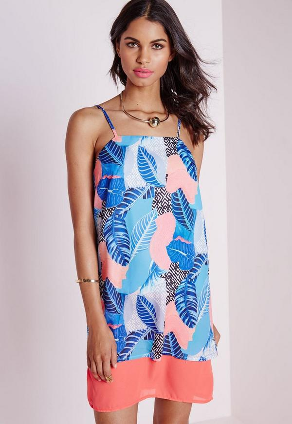 Strappy Boxy Cami Dress Blue/Orange Leaf