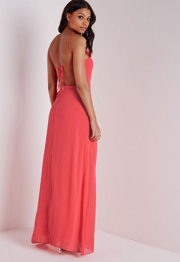 Strappy Back Maxi Dress Coral